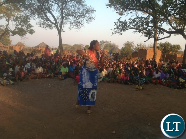 Chairperson International Relations Joyce Musenge talking to voters in Chadiza