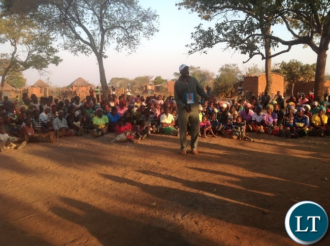 Chairperson Agriculture Chilufya Chishala talking to voters in Chadiza