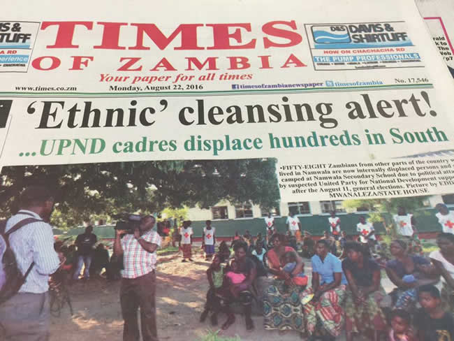 Alarming headline by Times of Zambia