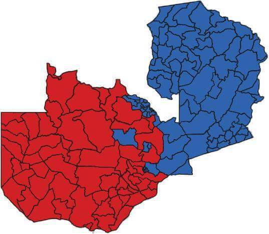 Zambia after 11 August 2016 elections conspicuously divided.