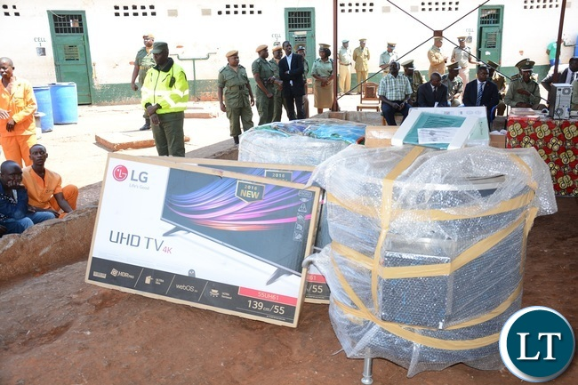 Fridges, Computers and Electrical pots donated by President Edgar Lungu to the Zambia Correctional Services