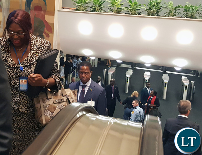 His Excellency Mr. Edgar Chagwa Lungu, President of the Republic of Zambia arriving at the United Nations General Assembly Hall to participate in the High-Level Meeting on addressing Large Movements of Refugees and Migrants in New York USA on Monday 19 September, 2016. With him is Zambia's Permanent Representative to the United Nations Her Excellency Dr Mwaba Kasese-Bota. PHOTO | CHIBAULA D. SILWAMBA | ZAMBIA UN MISSION