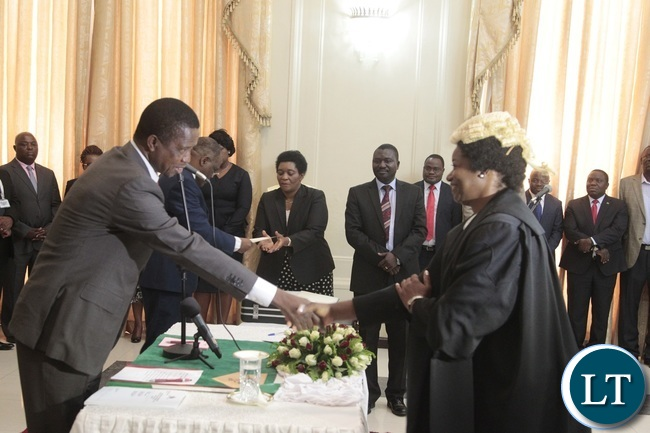 President Edgar Lungu congratulates Newly appointed first Speaker of the National Assembly Catherine Namugala during swearing in Ceremony