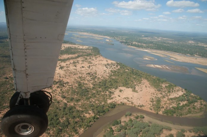 A view over the Lower Zambezi from a Proflight plane.