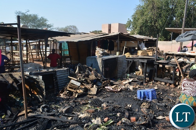 Part of the remains at the gutted Green market cooperative in Livingstone.