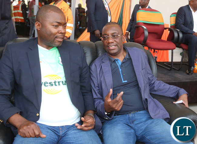 The newly appointed Copperbelt Minister Bowman Lusambo was spotted in Levy stadium VVIP box with FAZ President Andrew Kamanga