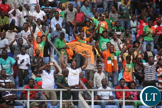Zesco supporters celebrating the Goals