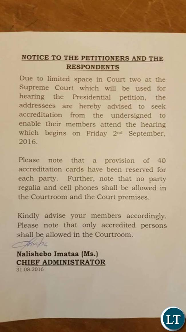 Notice from the Court