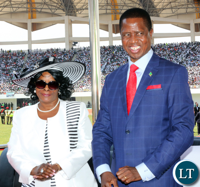 President Lungu with First lady Esther Lungu at the inauguration ceremony