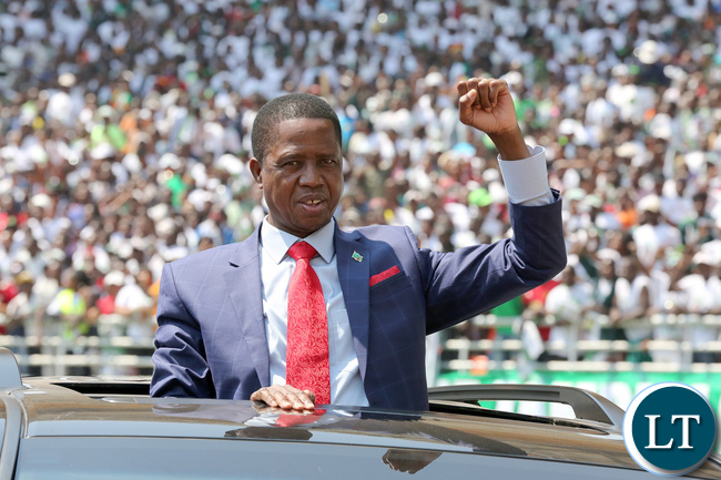 President Lungu arrives for the Inauguration Ceremony