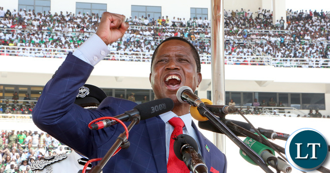 President Lungu addressing the crowd