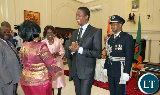 President Lungu share alight moment with Prof Nkandu Luo after the Swearing in Ceremony at Statehouse