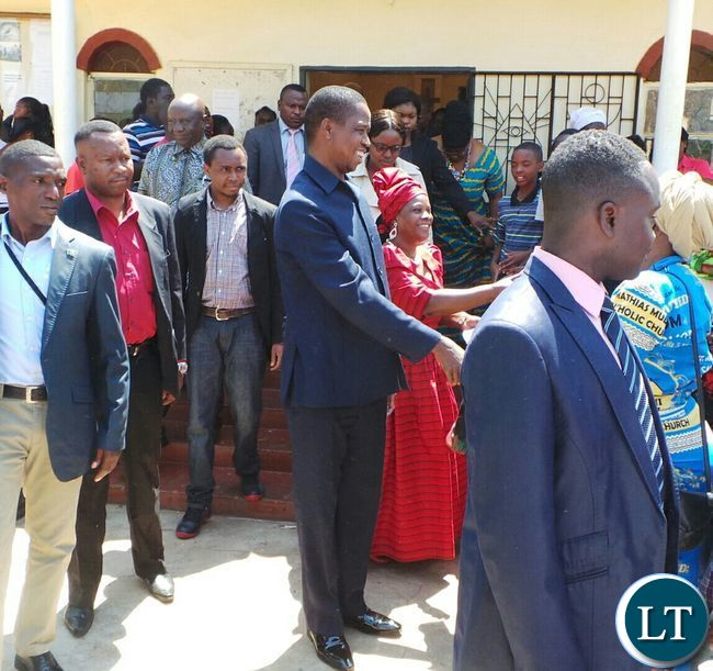 President Lungu greets congregants outside the Church
