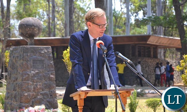 Swedish Ambassador to Zambia Henrik Cederin speaking during the commemoration
