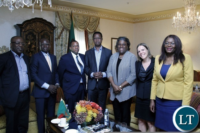 President Lungu with US Assistant Secretary for African  Affairs Lind Thomas Greenfield (third from right) after she  paid a courtesy call on President Lungu at Waldorg Astoria  Hotel in New York on Saturday