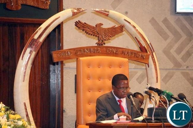 President Lungu delivering his address during the official opening of parliament