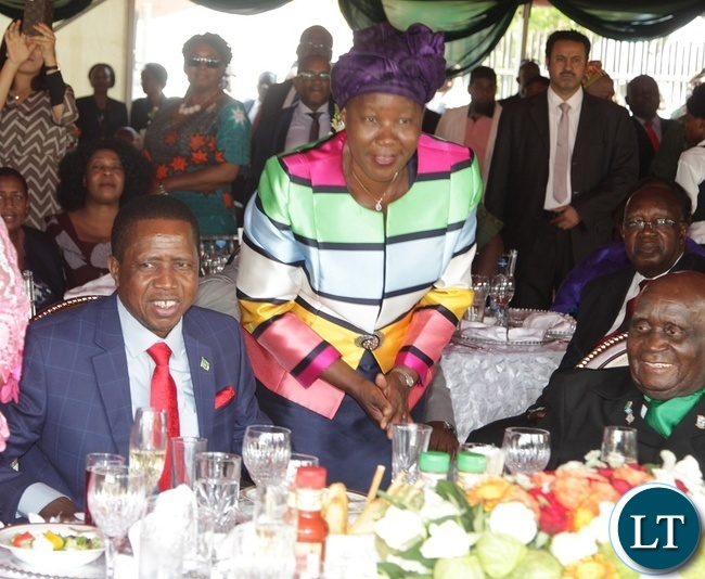 PRESIDENT Edgar Lungu with FDD President Edith Nawakwi during the Luncheon at State House.Looking on is former President of Zambia, Dr. Kenneth Kaunda.