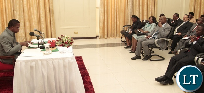 President Edgar Lungu addressing African Diplomats accredited to Zambia at State House