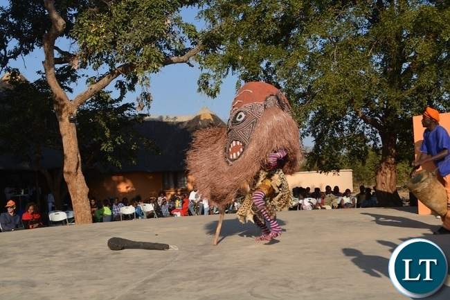 A Zambia National Dance Troupe likishi performing  to local and foreign tourists  at Maramba Cultural village in Livingstone