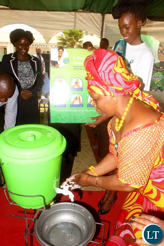 First Lady Esther Lungu during  the Commemoration of Global Hand washing Day at North mead Primary School  in Lusaka on Wednesday,October 12,2016-Picture by THOMAS NSAMA