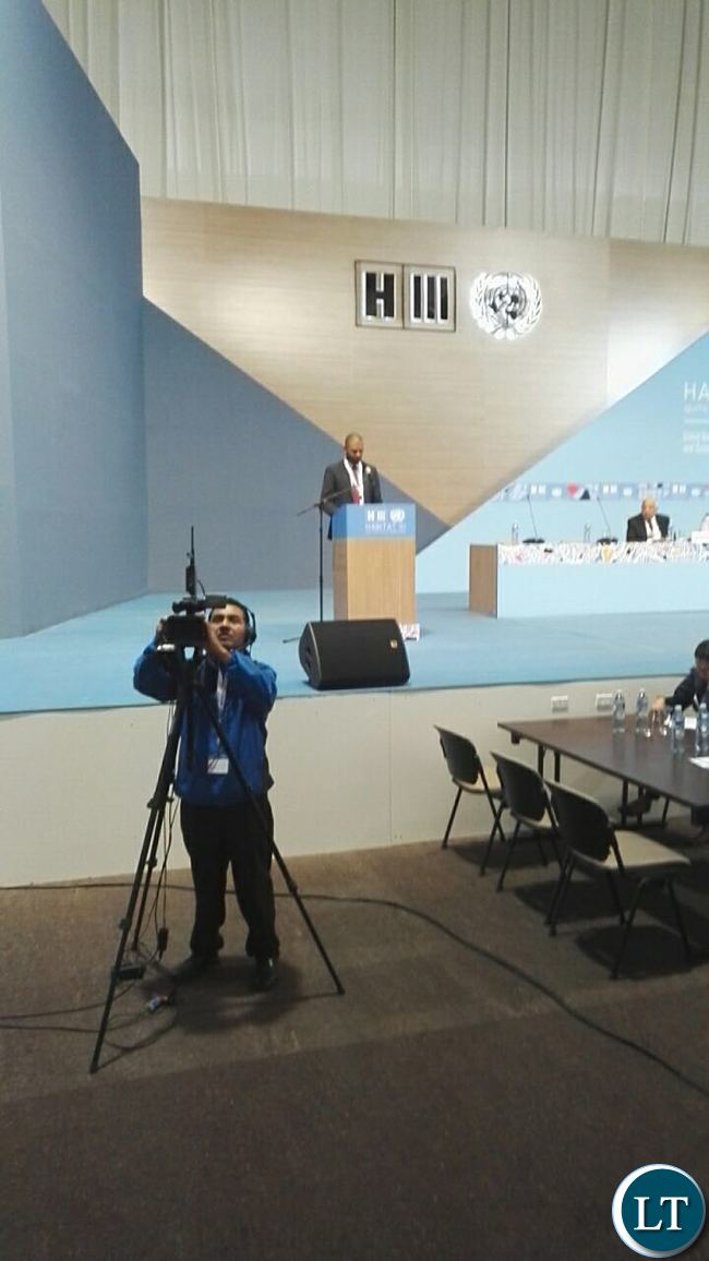 Minister of Local Government Vincent Mwale at UN Habitat III Conference in Quito Ecuador