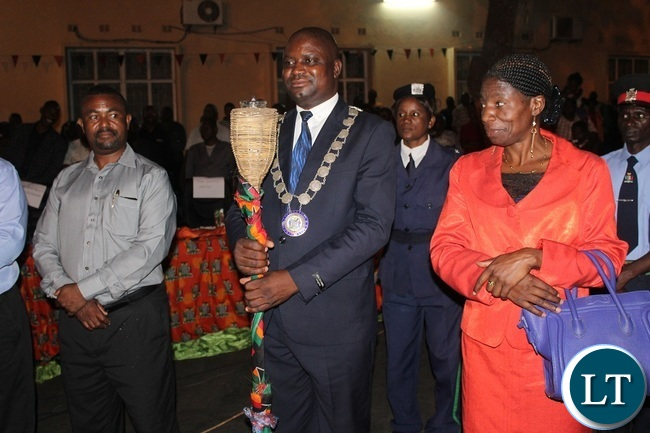 .Acting Livingstone District Commissioner Harriet Kawina (left), Livingstone Mayor Eugene Mapuwo (middle) and Livingstone Member of Parliament Matthews Jere (left) during the eve of Zambia's 52nd independence celebrations in Livingstone on Sunday. Picture by KELVIN MUDENDA