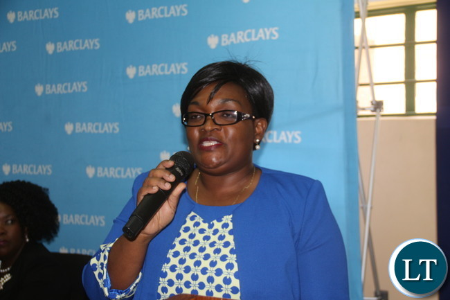 """Barclays Bank Plc Human Resources Officer Mrs Chewe Chewe  addressing ZCAS Student during the  """"2016 BBZ Career Fair"""" at ZCAS Premised"""