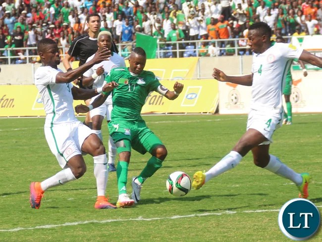 Kalaba Rainford being challenged by Omeruo Kenneth Josiah and Echiejile Elederson