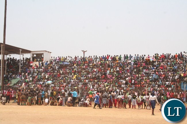 Part of the crowdthat turned up for the 52ndIndependence anniversary follow the proceedings at Solwezi Stadium