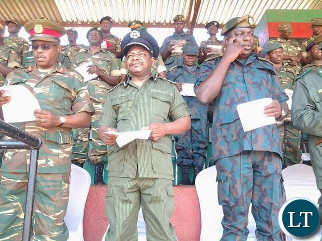 Eastern Province Police Commissioner Alex Chilufya with other defence and security personnel during prayers and fasting day held at David Kaunda Stadium in Chipata