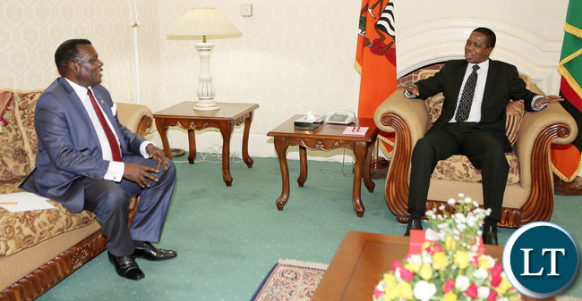 President Edgar Lungu Meets Dr George Chaponda A Special Envoy of President of Malawi Prof Arthur Peter Mutharika who is Minister of Agriculture, Irrigation and Water Development at State House in Lusaka - Picture By Eddie Mwanaleza/Statehouse 21-10-2016.