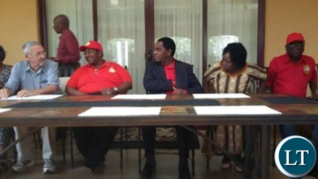 The UPND leadership during the news conference