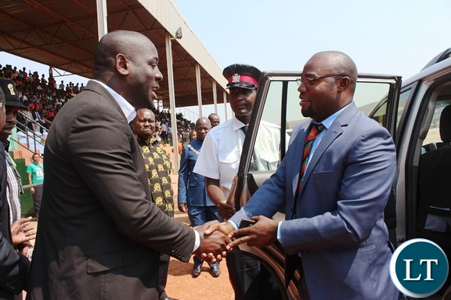 EASTERN Province Patriotic Front (PF) Provincial Chairperson, Andrew Lubusha, welcomes, Youth, Sport and Child Development Minister, Moses Mawere, at this year's Independence celebrations held at David Kaunda stadium in Chipata