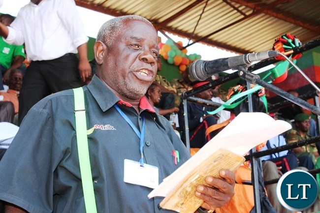 EASTERN Province Freedom Fighters Association of Zambia, Chairperson, Frank Banda, delivers a speech on behalf of freedom fighters during this year's Independence celebrations held at David Kaunda stadium in Chipata. PICTURE BY STEPHEN MUKOBEKO/ZANIS