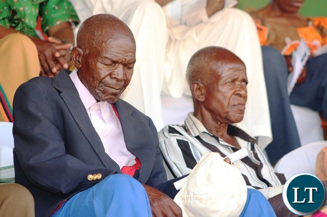 SOME freedom fighters, listen to speeches during this year's Independence celebrations held at David Kaunda Stadium in Chipata. PICTURE BY STEPHEN MUKOBEKO/ZANIS