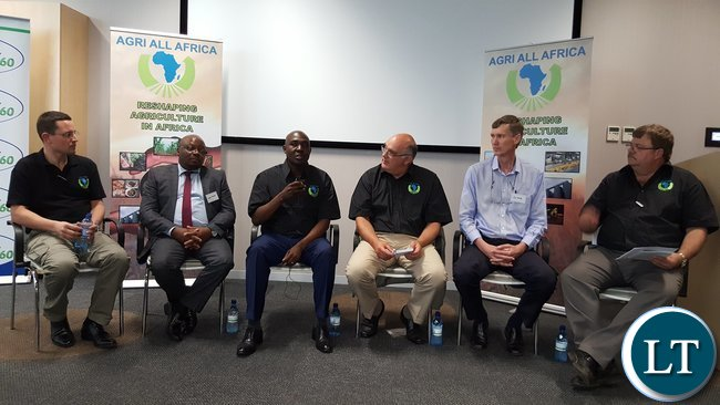 Lusaka Province Minister, Mr. Japhen Mwakalombe (3rd from left) speaking during a panel discussion at the symposium in Pretoria on Wednesday, 19th October, 2016. The other members of the panel are (L-R) Agri-Zambia Managing Director Mr. Landon Romano, Agri-Zambia Board Member Mr. Levi Tembo, AaA Chairperson Dr. Theo De Jager, fresh produce dealer Mr. Jan Mocke, and AaA Chief Executive Officer Mr. Dirk Hanekom.