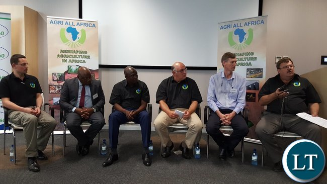 AaA Chief Executive Officer Mr. Dirk Hanekom speaking during a panel discussion at the symposium in Pretoria on Wednesday, 19th October, 2016. With him are (L-R) Agri-Zambia Managing Director Mr. Landon Romano, Agri-Zambia Board Member Mr. Levi Tembo, Lusaka Province Minister, Mr. Japhen Mwakalombe, AaA Chairperson Dr. Theo De Jager, and fresh produce dealer Mr. Jan Mocke