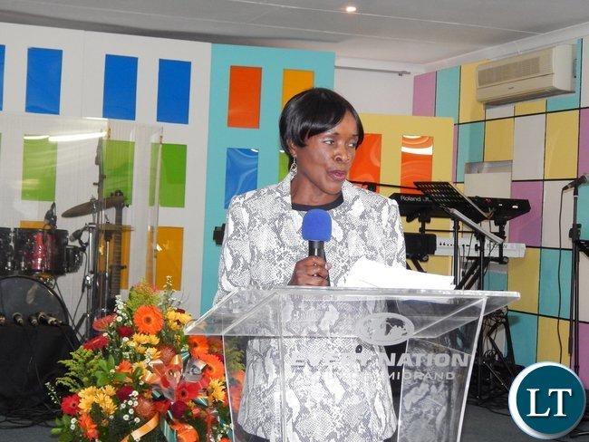 Zambia's Deputy High Commissioner to Zambia, Ms. Philomena Kachesa giving her remarks