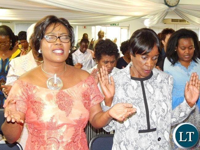 (Left) Mrs. Monde Mwamba, wife of Zambia's High Commissioner, His Excellency Mr. Emmanuel Mwamba with Zambia's Deputy High Commissioner to Zambia, Ms. Philomena Kachesa
