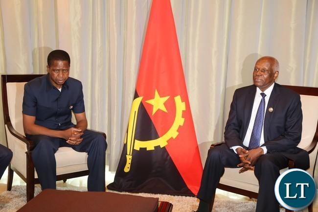 President Lungu with his Angolan President Eduardo dos antos at vila talatona conference centre in Luanda Angola for the Great Lakes Summit 26-10-2016.