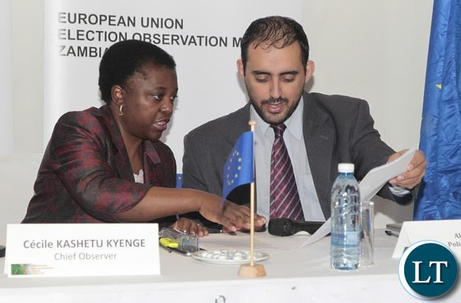 European Union Election Observation Mission in Zambia Chief Observer Cecilia Kashetu Kyange chat with European Union Election Observation Mission in Zambia Political Analyst Aly Verjee during a presentation of the General Elections and Referendum Final Report at Intercontinental Hotel