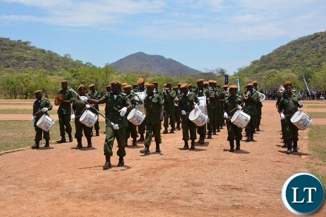 Police Brass Band Performs during the 2015-2016 Pass out Parade in Geoffrey Mukuma Training School or called Sondela in Kafue District
