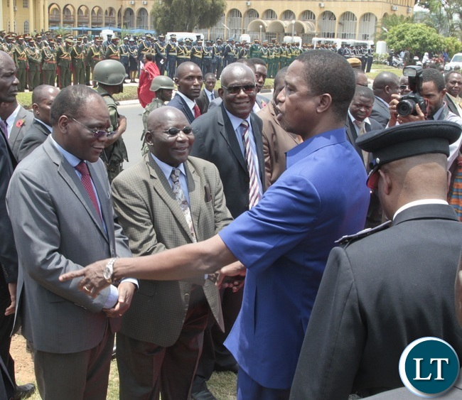 President Edgar Lungu speaks to Secretary to Cabinet Rowland Msiska during the Remembrance Day at the National Cenotaph yesterday 13-11-2016. Picture by ROYD SIBAJENE/ZANIS