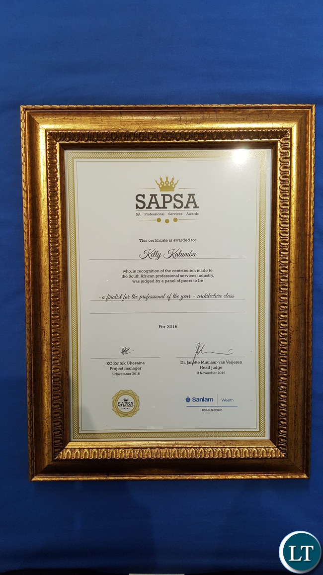 The finalists' certificate for the Professional of the Year in the 'Architecture Class of the Built Environment' category presented to Mr. Kelly Kalumba by the South African Professional Services Awards
