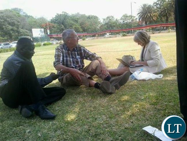 Dr.Charlotte Scott-relaxing outside Lusaka High court on october 21st 2016 with her husband Guy Scott after she concluded her testimony in the election petition against PF's Margaret Mwanakatwe