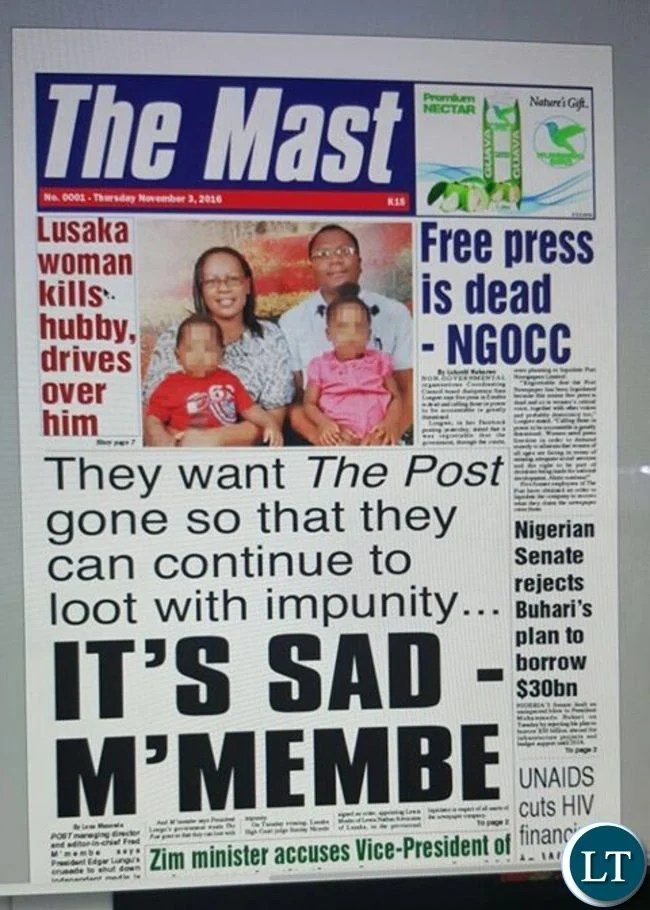 Front Cover of the Mast Newspaper formerly the Post Newspaper
