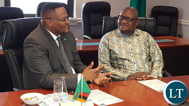 Premier for Gauteng Province, Mr. David Makhura (r) speaking during the meeting with Zambia's High Commissioner to South Africa, Mr. Emmanuel Mwamba