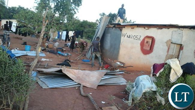 House damaged by a recent rainstorm in Ndola