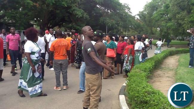 PF cadres at the Civics centre Protesting