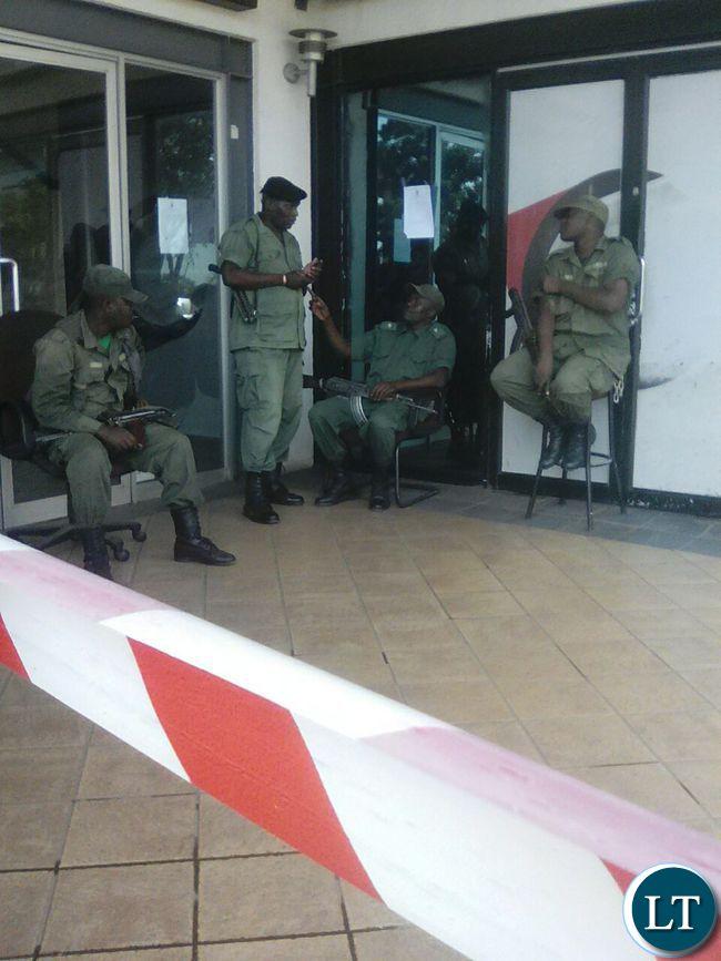 Police officers manning entrance to Intermarket